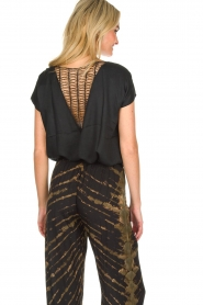 Rabens Saloner |  Top with see-through V-neck Fia | black  | Picture 5