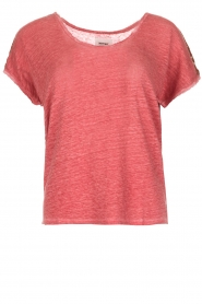 Not Shy |  Linen t-shirt Elisabeth | red  | Picture 1