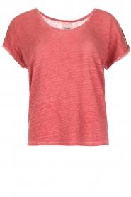 Not Shy | Linnen t-shirt Elisabeth | rood  | Afbeelding 1