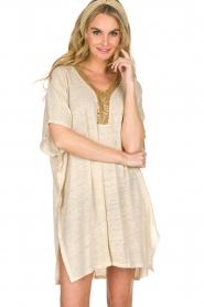 Not Shy |  Linen tunic dress Brune | beige  | Picture 2