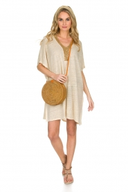 Not Shy |  Linen tunic dress Brune | beige  | Picture 3