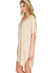 Not Shy |  Linen tunic dress Brune | beige  | Picture 4