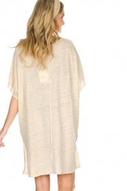 Not Shy |  Linen tunic dress Brune | beige  | Picture 5