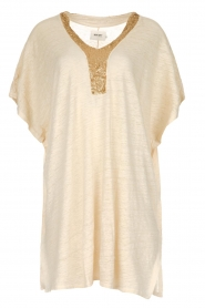 Not Shy |  Linen tunic dress Brune | beige  | Picture 1