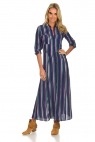 Freebird |  Striped maxi dress Gabriella | blue  | Picture 2