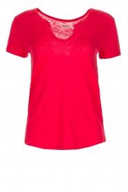 Not Shy | Linnen t-shirt Marine | rood  | Afbeelding 1