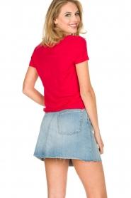Not Shy | Linnen t-shirt Marine | rood  | Afbeelding 4