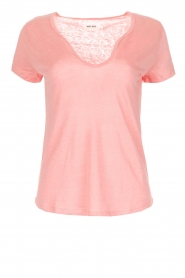 Not Shy |  Linen t-shirt Marine | pink  | Picture 1
