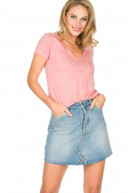 Not Shy |  Linen t-shirt Marine | pink  | Picture 2