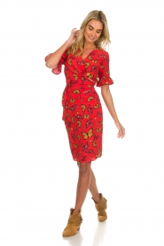 Freebird |  Printed wrap dress Butterfly | red  | Picture 3