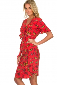 Freebird |  Printed wrap dress Butterfly | red  | Picture 5