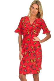 Freebird |  Printed wrap dress Butterfly | red  | Picture 2
