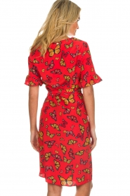 Freebird |  Printed wrap dress Butterfly | red  | Picture 6