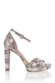 Leather sandals Divia | snakeprint grey