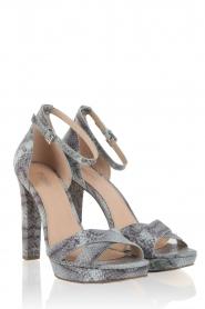 Leren sandalen Divia | slangenprint lichtblauw