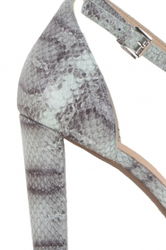 Leather sandals Divia | snakeprint light blue