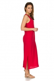 Not Shy |  Linen dress Pascale | red  | Picture 3