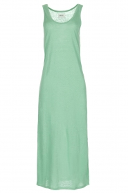 Not Shy |  Linen dress Pascale | green  | Picture 1