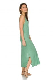 Not Shy |  Linen dress Pascale | green  | Picture 4