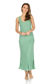 Not Shy |  Linen dress Pascale | green  | Picture 2