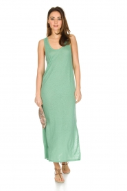 Not Shy |  Linen dress Pascale | green  | Picture 3
