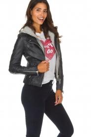 Arma    Leather bikjer jacket Preto   blue    Picture 4