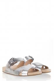 MICHAEL Michael Kors | Leren sandaal Sawyer | zilver  | Afbeelding 3
