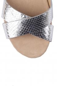 MICHAEL Michael Kors | Leren sandaal Sawyer | zilver  | Afbeelding 5
