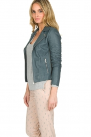 Arma |  Leather biker jacket Kendall | Blue  | Picture 5