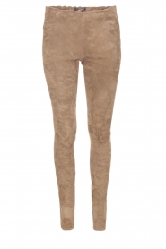 Lamsleren suède stretchlegging Roche | taupe