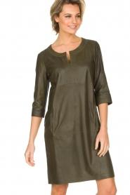Arma | 100% lamsleren jurk Muret | kaki groen  | Afbeelding 5