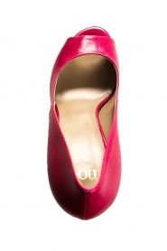 Noe :  Leather peep-toe pumps Nicoline | pink - img5