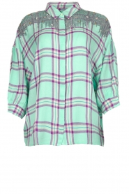 Essentiel Antwerp |  Blouse with checket pattern Scenery | green  | Picture 1