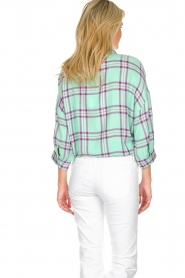 Essentiel Antwerp |  Blouse with checket pattern Scenery | green  | Picture 5