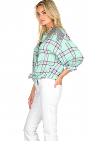 Essentiel Antwerp |  Blouse with checket pattern Scenery | green  | Picture 4