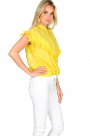 Essentiel Antwerp |  Blouse with ruffles Sloeber | yellow  | Picture 4