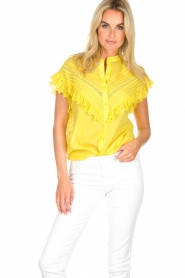 Essentiel Antwerp |  Blouse with ruffles Sloeber | yellow  | Picture 2
