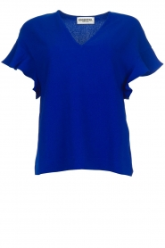 Essentiel Antwerp |  Top with ruffles Sinai | blue  | Picture 1