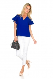 Essentiel Antwerp |  Top with ruffles Sinai | blue  | Picture 3