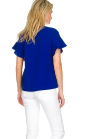Essentiel Antwerp |  Top with ruffles Sinai | blue  | Picture 5
