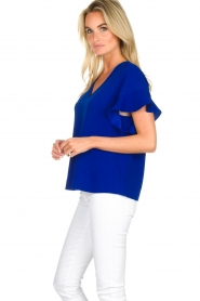 Essentiel Antwerp |  Top with ruffles Sinai | blue  | Picture 4
