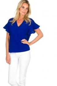 Essentiel Antwerp |  Top with ruffles Sinai | blue  | Picture 2