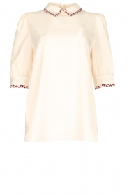 Essentiel Antwerp |  Blouse with leopard print collar Sherly | natural  | Picture 1