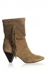 Janet & Janet |  Suede fringe boots Lizzy |  Taupe