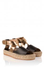 Hoss Intropia | Leren sandaal Kayleight | zwart-goud  | Afbeelding 3