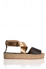 Hoss Intropia | Leren sandaal Kayleight | zwart-goud  | Afbeelding 1