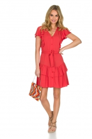 Sessun |  Dress with ruffles Mocinno | red  | Picture 3