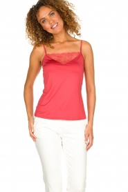 Hanro |  Top with lace Jolina | red  | Picture 2