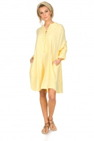 Rabens Saloner | 100% katoenen jurk Olivia | geel  | Afbeelding 3