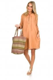 Rabens Saloner | 100% katoenen jurk Olivia | Roestbruin  | Afbeelding 3